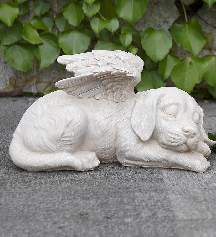 Sleeping Angel Dog with Wings