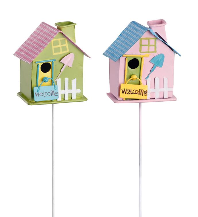 Pink/Green Birdhouse Pick, x2