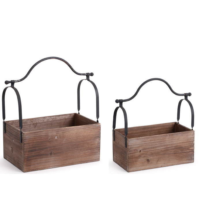 Boxes With Metal Handle, Set of 2