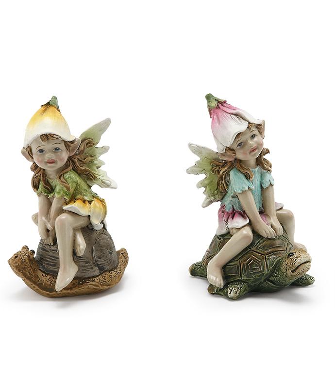 Fairys On Turtle/Snail, 2 Assorted
