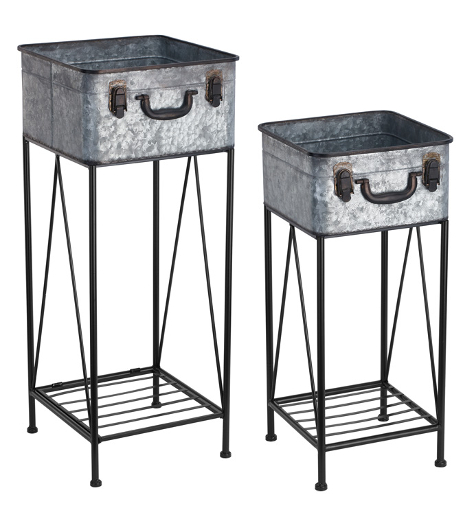 Square Trunk Plant Stands, Set of 2