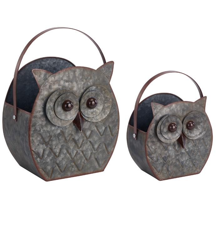 Set of 2, Galvanized Owl Planter wi