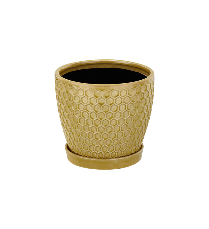 Large Yellow Honeycomb Planter with