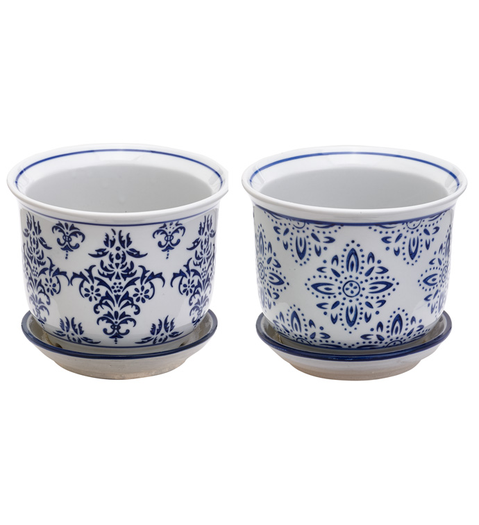 Small Blue/White Floral Planters W