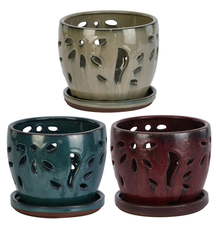 Large Orchid Pot, 3 Assorted