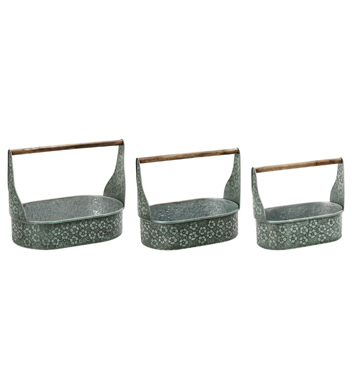 Oval Tray w/Handle, Set of 3