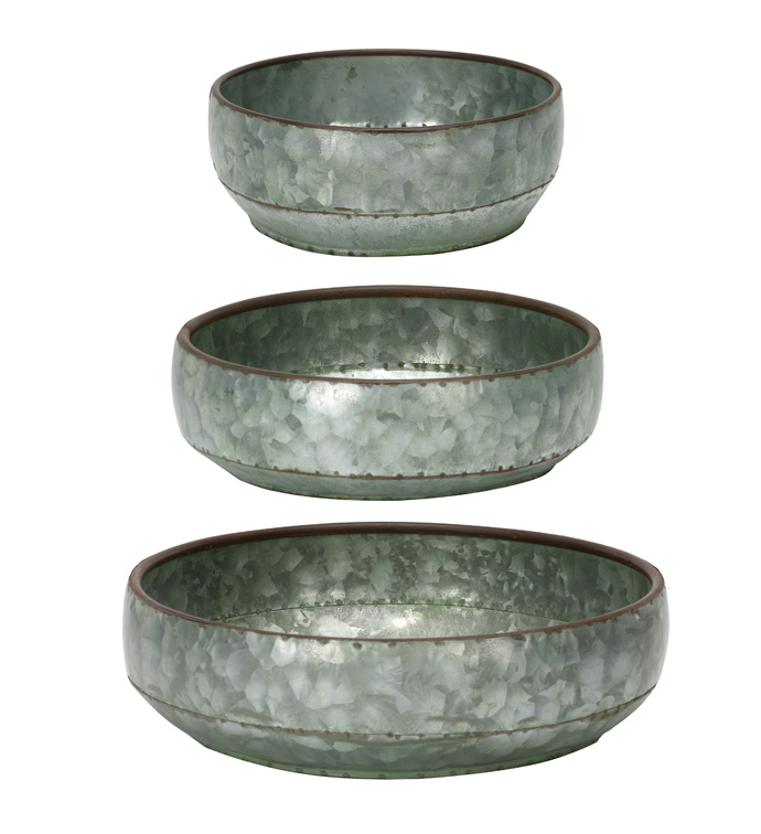 Galvanized Dish Garden, Set of 3