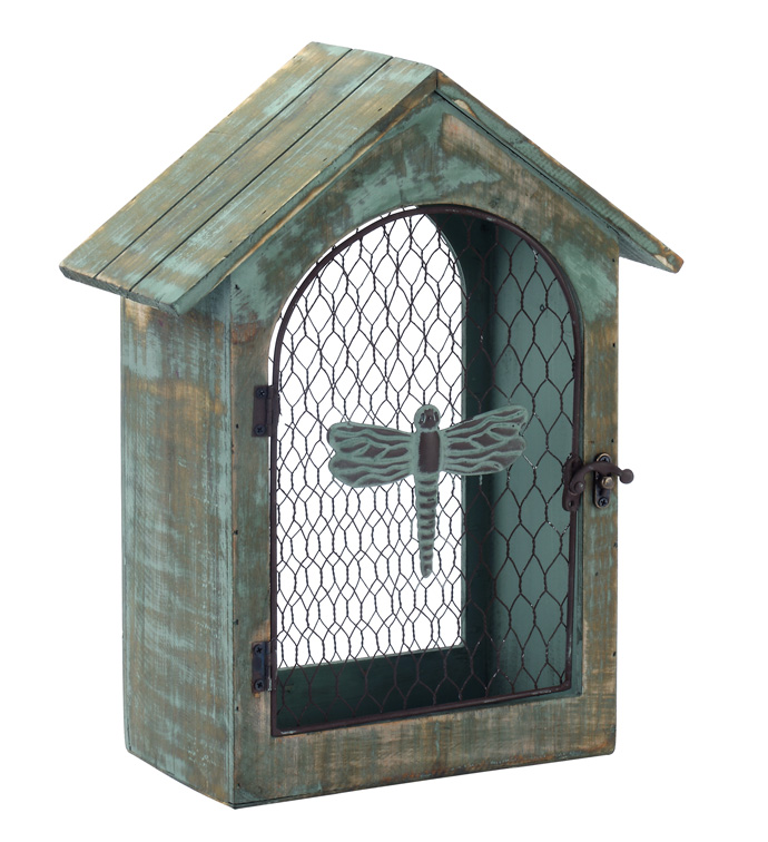 Green Bird House with Dragonfly