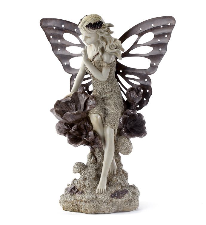 Fairy with Flower & Metal Wings