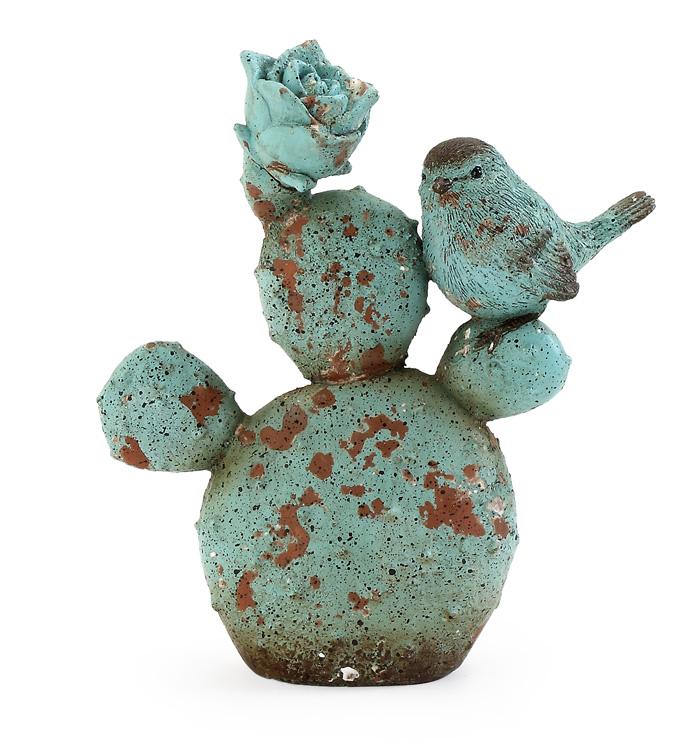 Blue Cactus with Bird