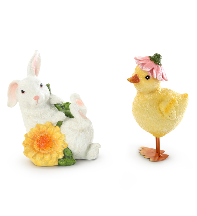 Duck/Bunny with Flower, 2 Assorted