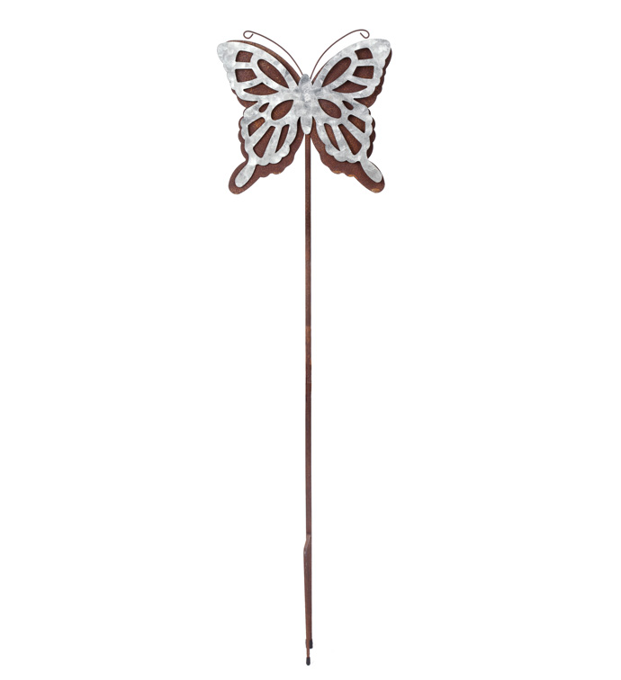 Silver/Rust Butterfly Stake