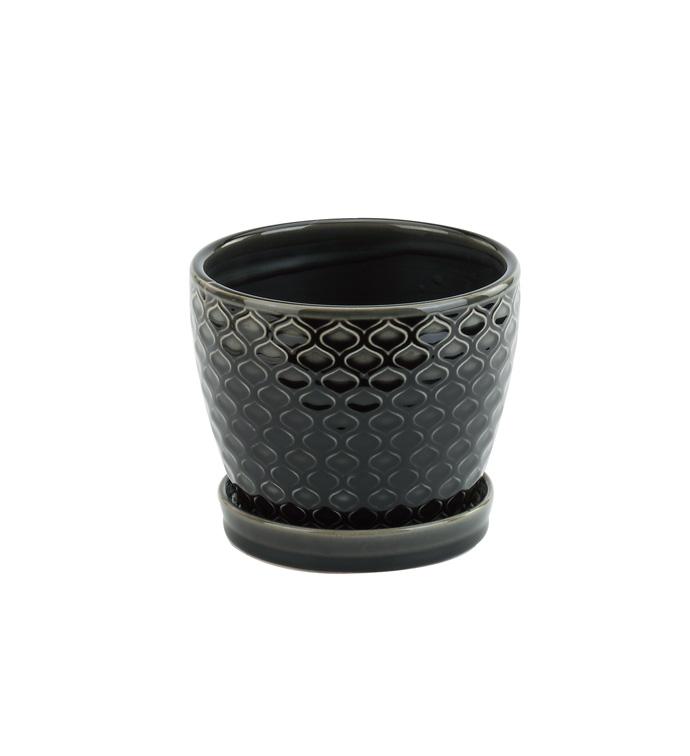 """4.5"""" Black Laser Pot With Saucer"""