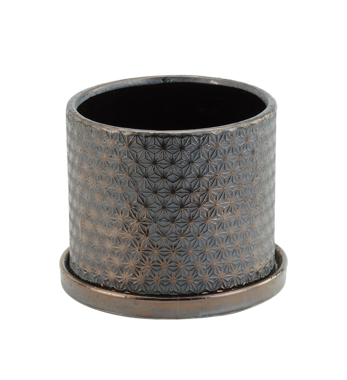 "6"" Copper/Patina Pot With Saucer"