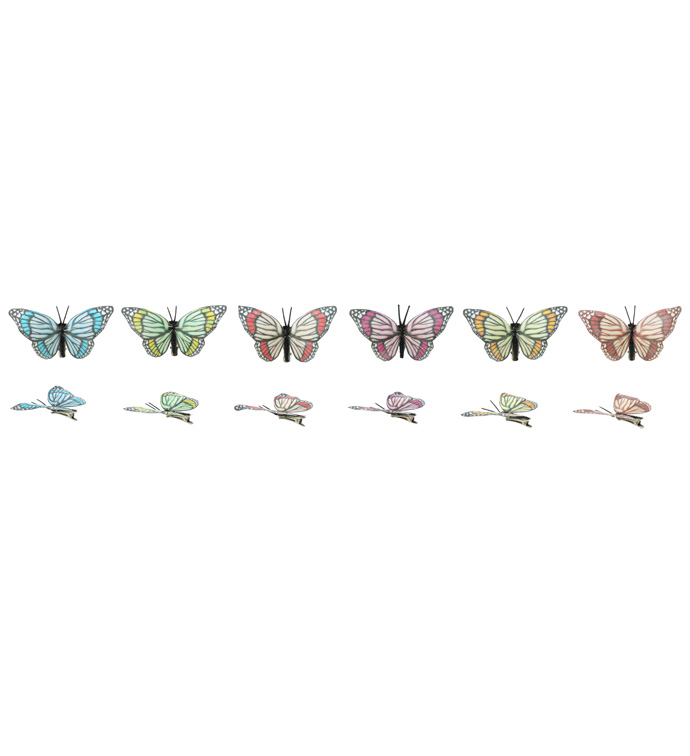 Butterfly Clip, 6 Assorted