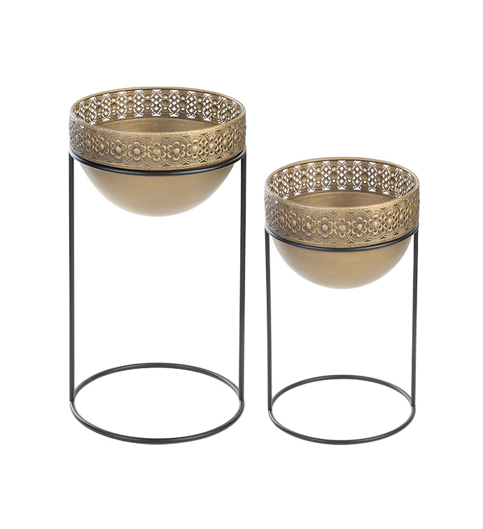Bowl Planters in Stands, Set of 2