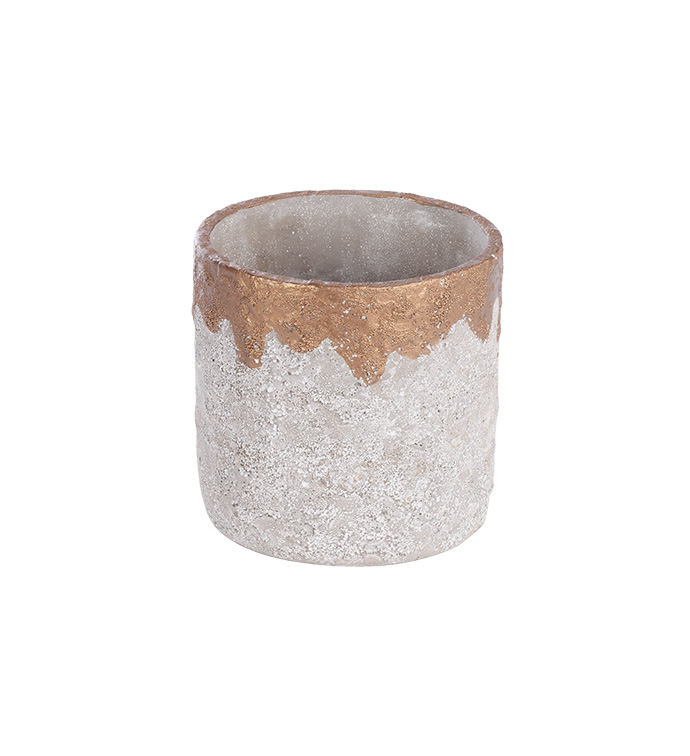 Gold & White Distressed Planter