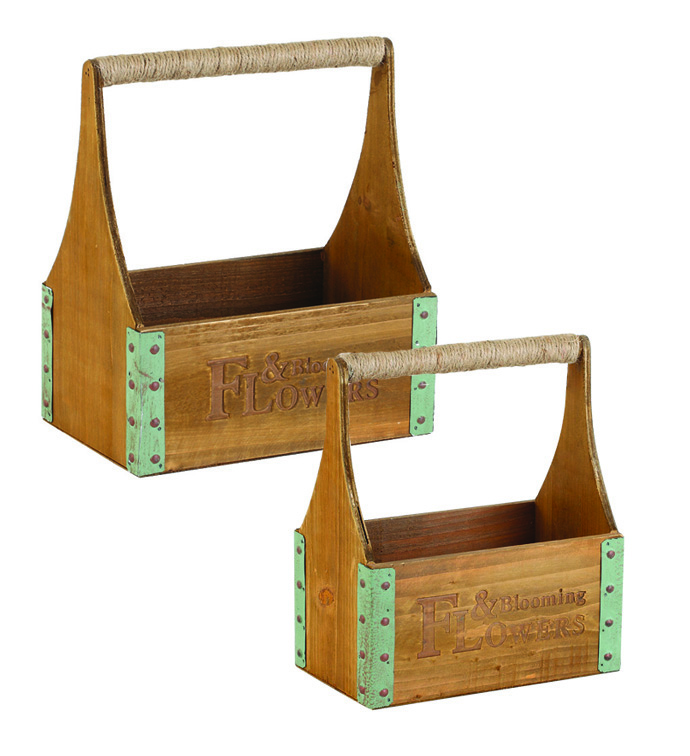 Flower Box with Handle, Set of 2