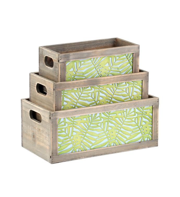 Palm Leaf Planter Box, Set of 3