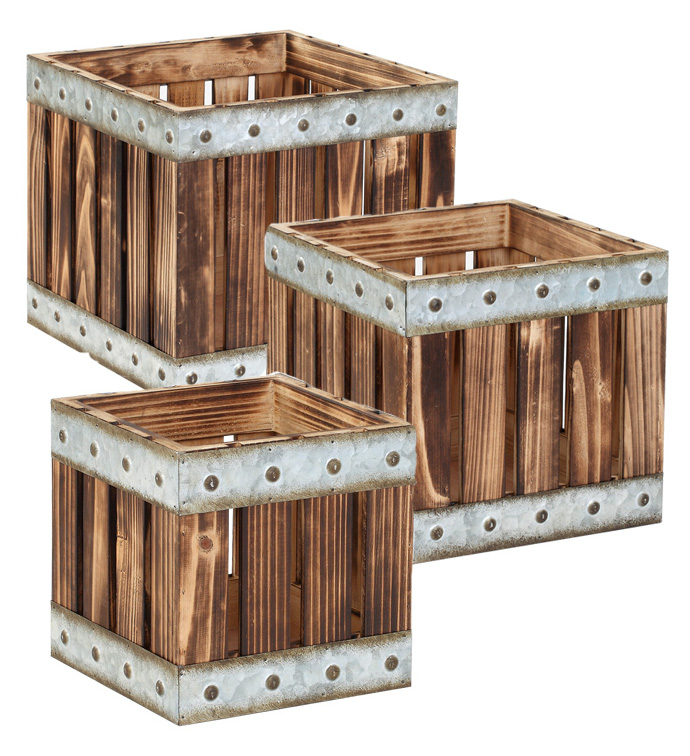 Slatted Box with Metal Trim, Set of