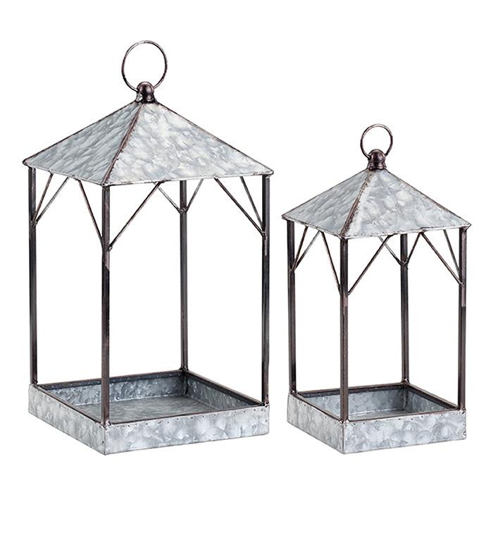 Galvanized House Lanterns, Set of 2