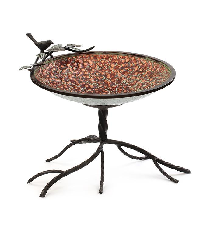 Burnt Copper Table Bird Bath