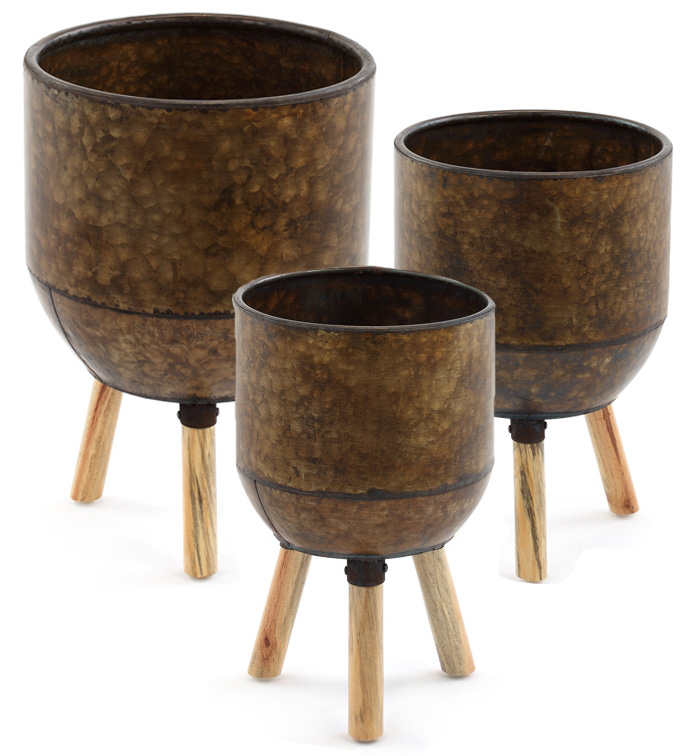 Aged Copper Pot Cover Stands, Set o