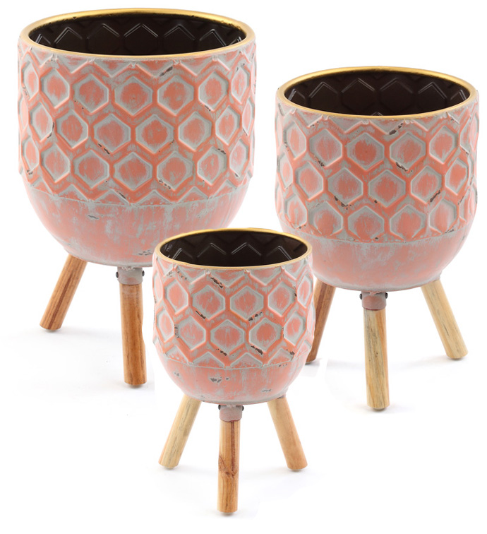 Embossed Tripod Pot Cover, Set of 3