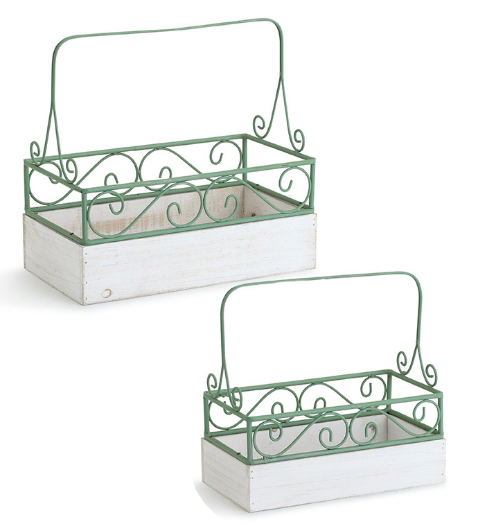 Green Scroll Planter Baskets, Set o