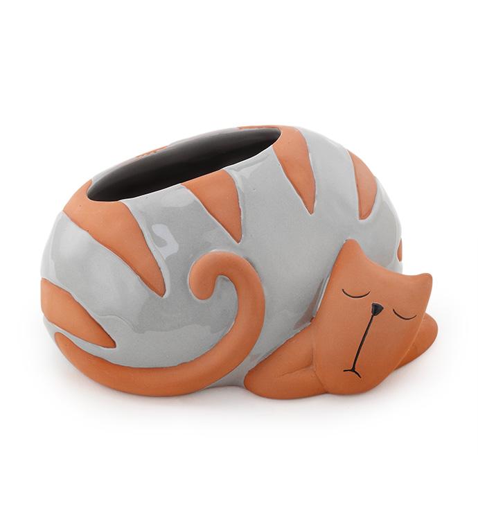 Grey Napping Cat Planter