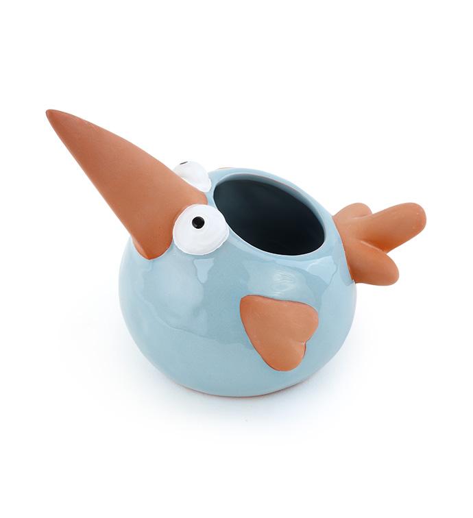 Blue Whimsy Bird Planter