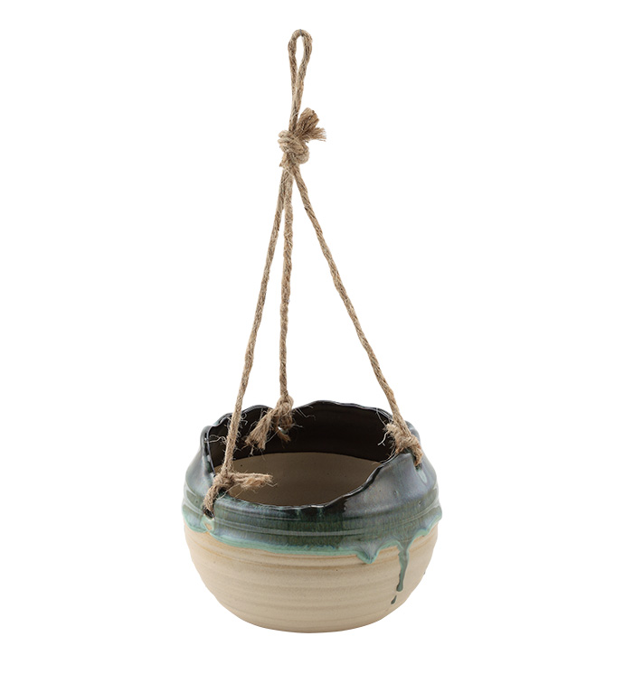 Green Drip Glaze Hanging Planter