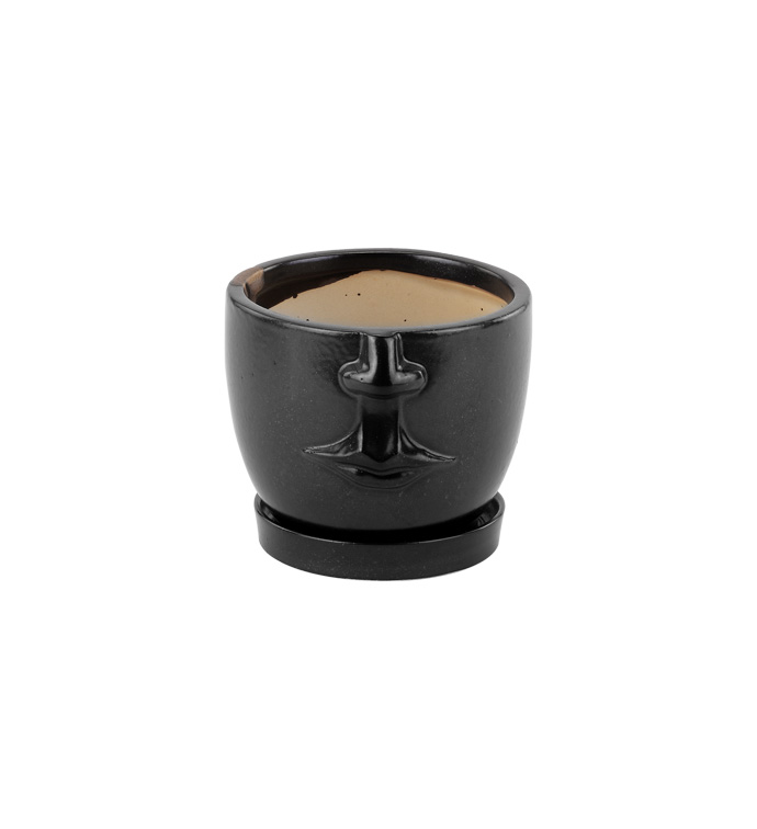 Small Face Planter with Saucer