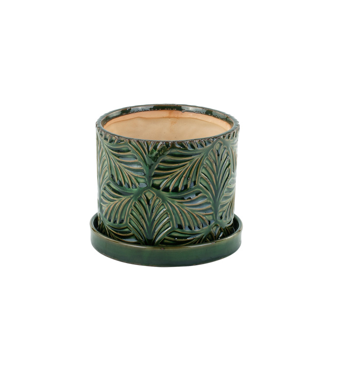 """4.5"""" Green Leaf Planter with Saucer"""