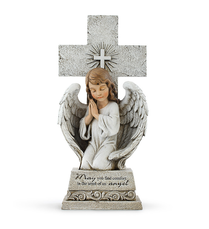 Praying Angel on Cross Statue