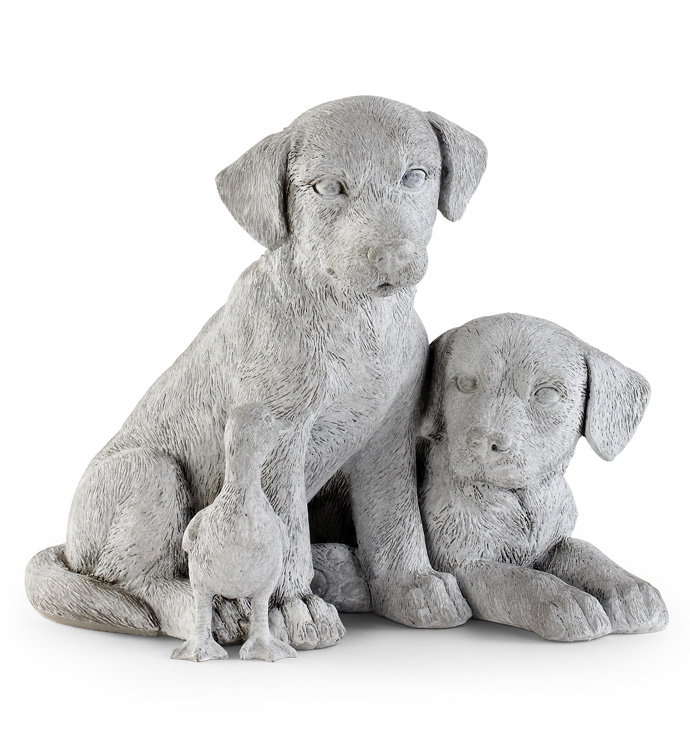 Dogs with Duck Statue
