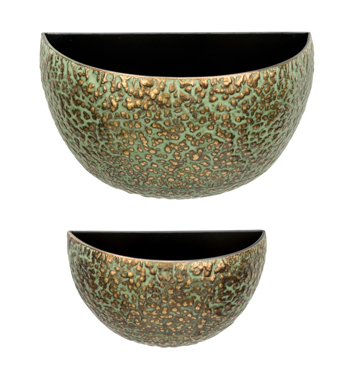 Green/Gold Wall Planter, Set of 2