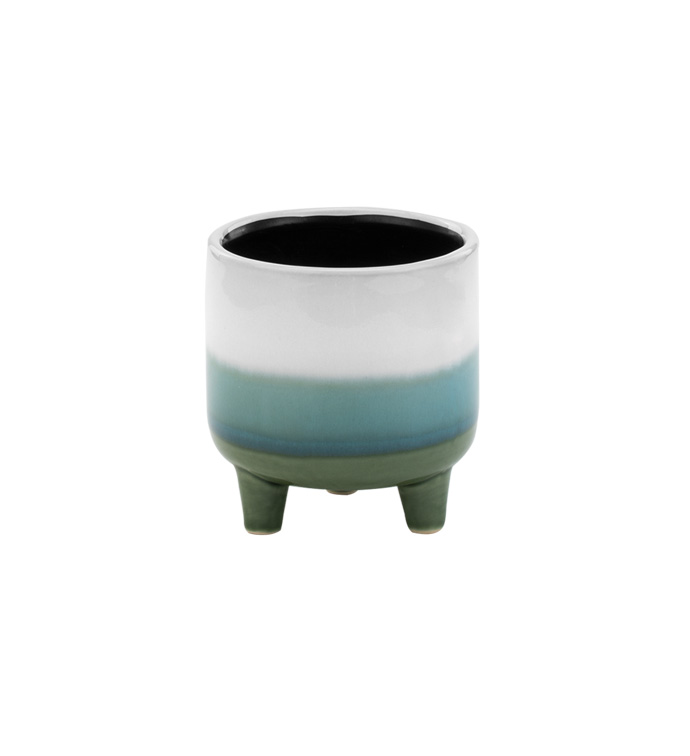 Small Tri-Color Footed Planter