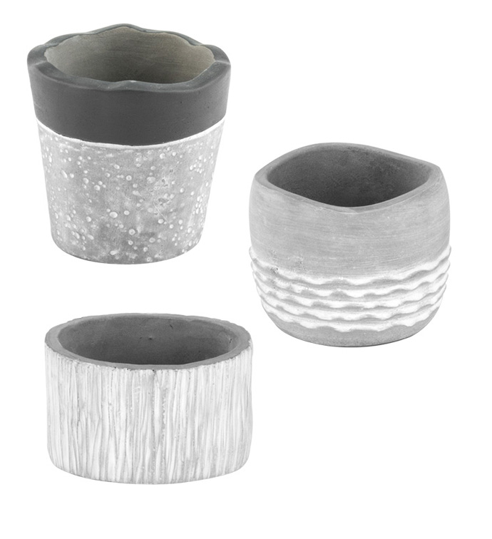 Grey Shapes Planter, 3 Assorted