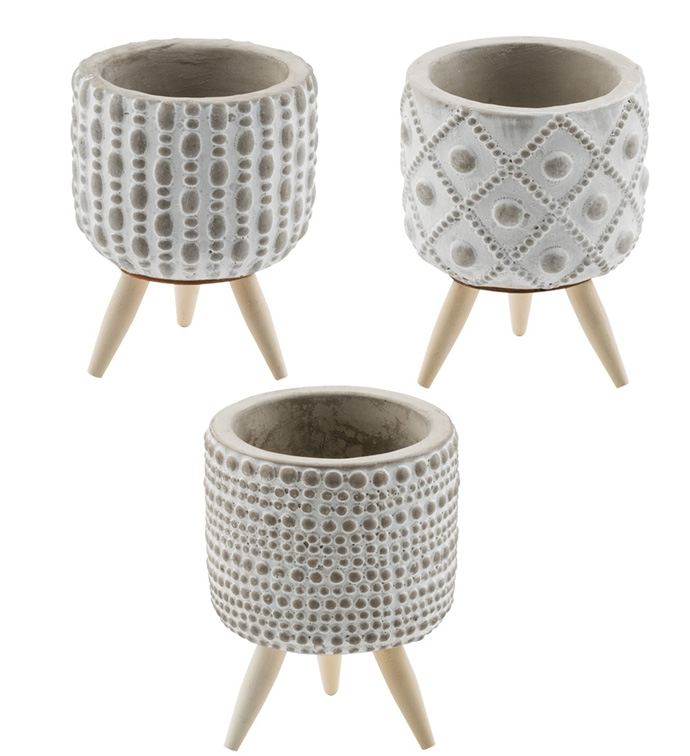 Embossed Planter with Feet, 3 Assor
