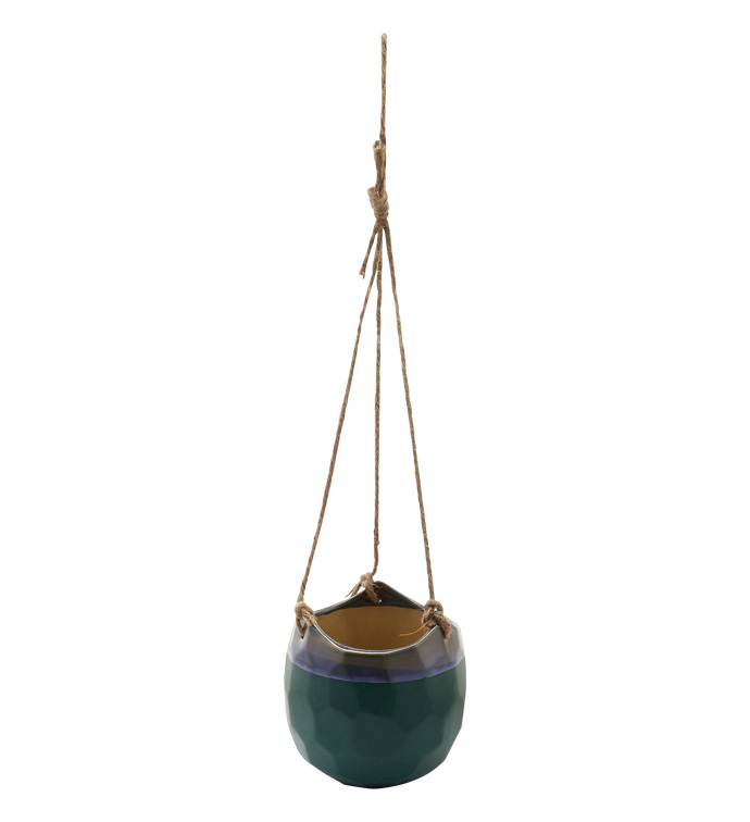 Emerald Drip Glaze Hanging Planter