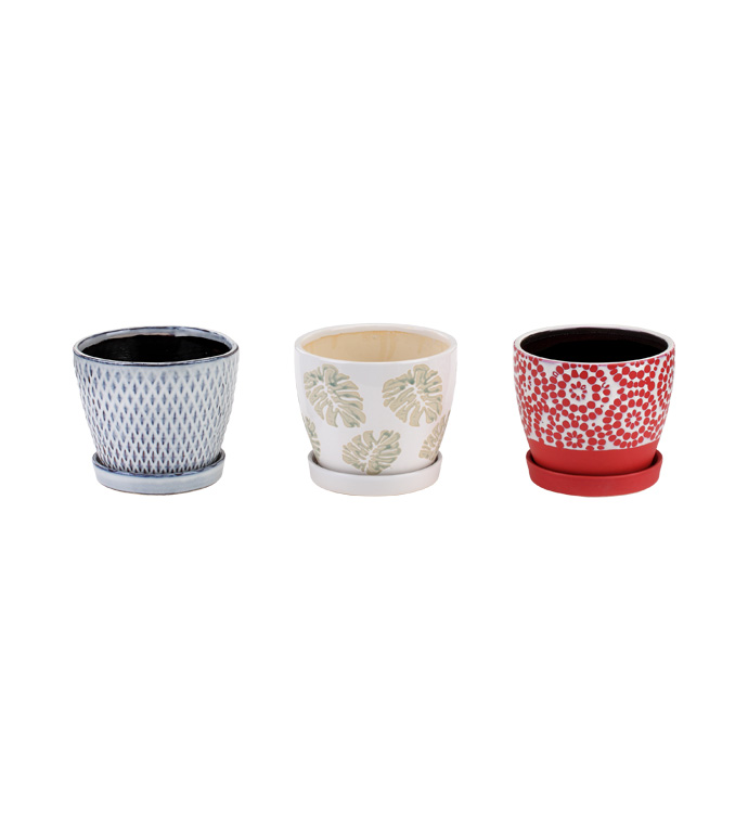 """4.5"""" 2-Tone Planters With Saucer, 3"""