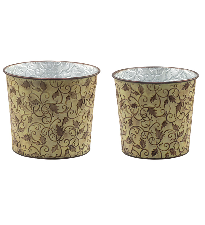 Vine Embossed Pot Cover, Set of 2
