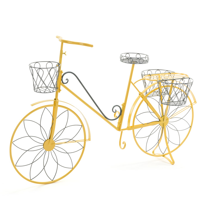 Yellow Bicycle Plant Stand