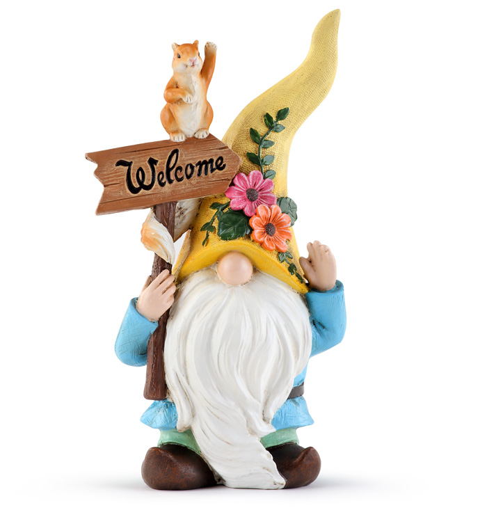 Flower Gnome with Squirrel