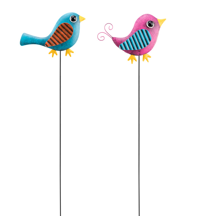 Bird Garden Stake, 2 Assorted