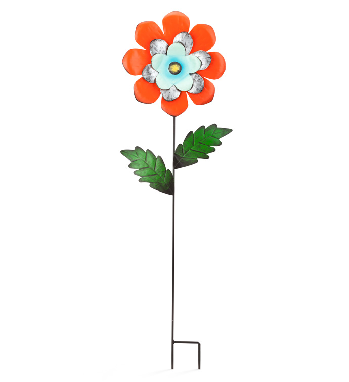 Blue/Orange Flower Garden Stake