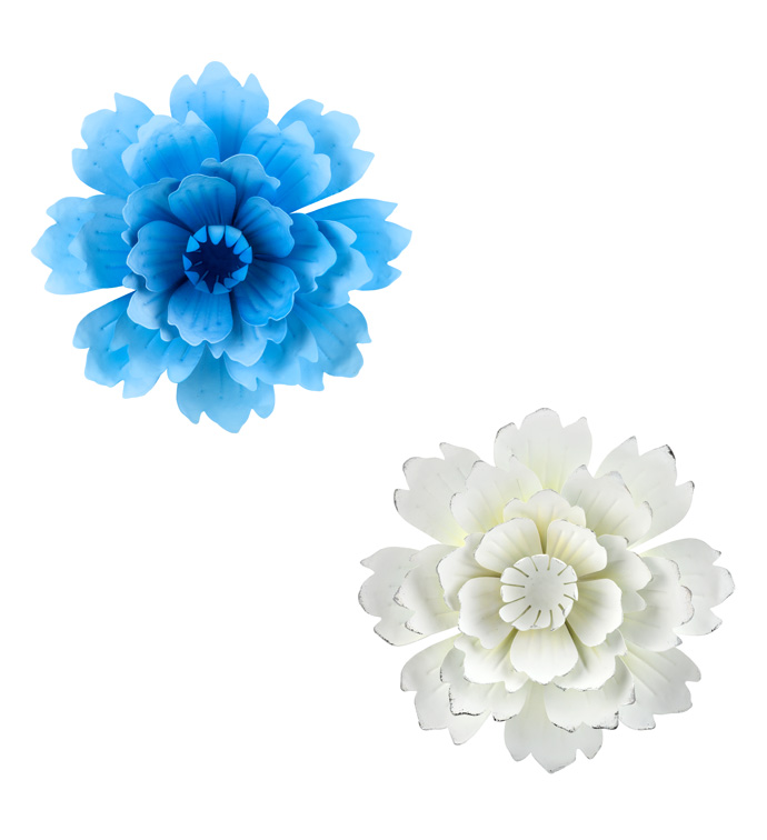 Blue/White Wall Flowers, 2 Assorted