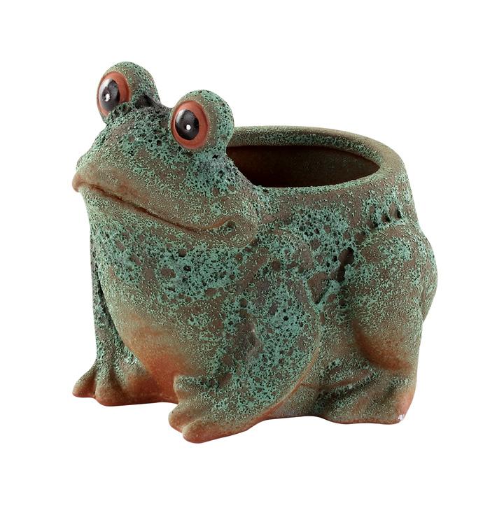 Verdigris Frog Planter