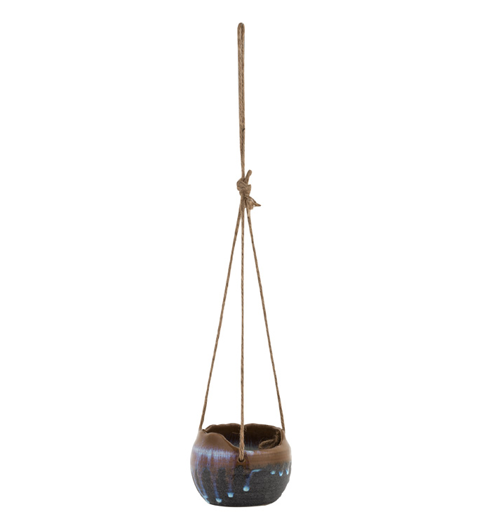Grey Glazed Hanging Planter